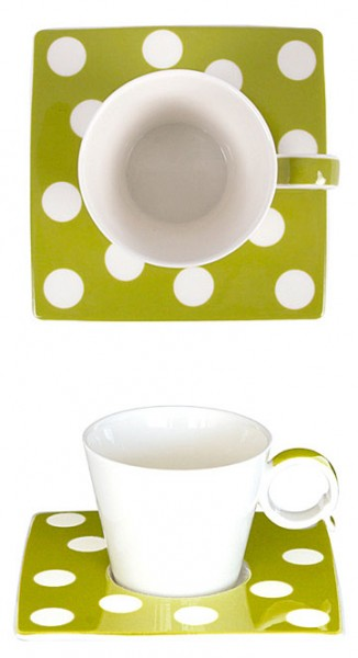 Espresso-Tasse Punkte grün