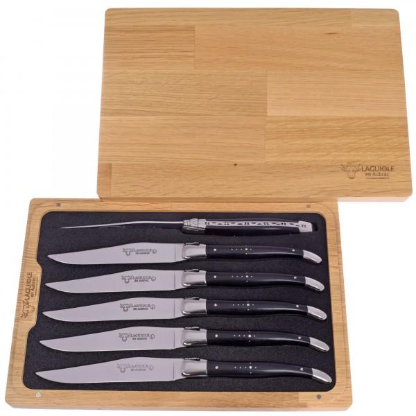 Steakmesser Set Ebenholz Laguiole en Aubrac