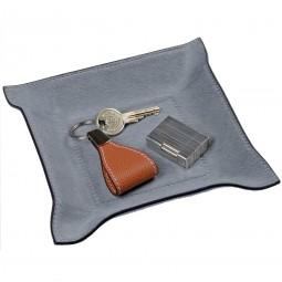Taschenleerer quadratisch Fellleder grau