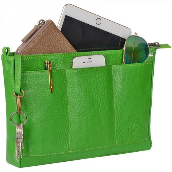 Handtaschen Organizer leder grün Reddog Design