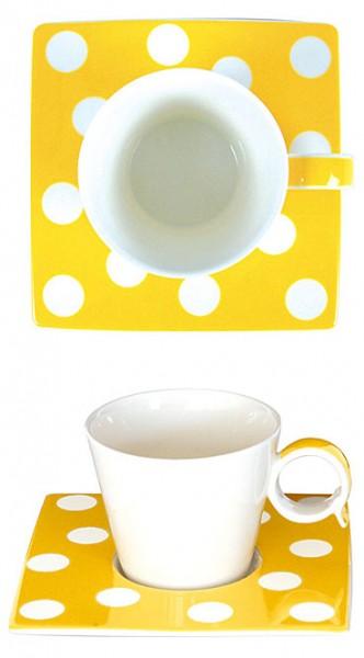Espresso-Tasse Punkte gelb