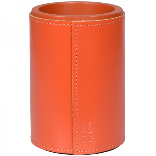 Stiftebecher Leder orange pinetti