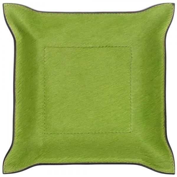 Taschenleerer quadratisch Fellleder grün giobagnara