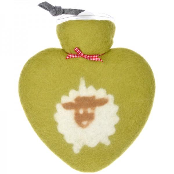 Herzwärmflasche Schafmotiv grün Dorothee Lehnen