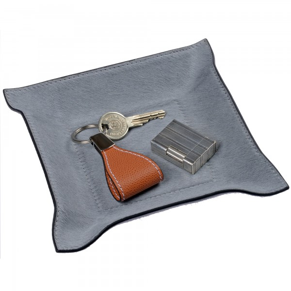 Taschenleerer quadratisch Fellleder grau giobagnara