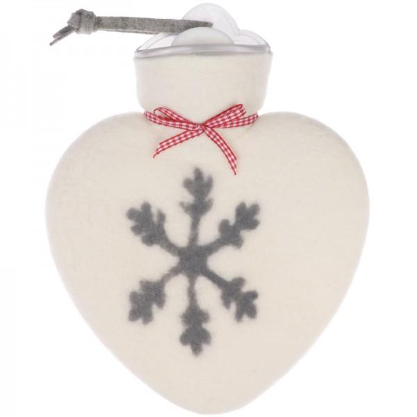Herzwärmflasche Schneeflocke weiss dorothee lehnen