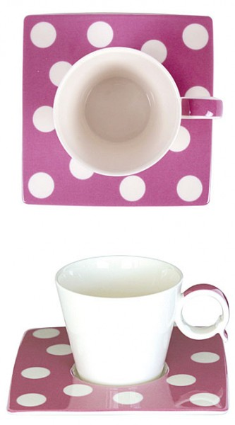 Espresso-Tasse Punkte lila