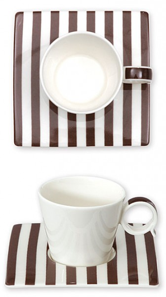 Bruno Evrard Espresso-Tasse Streifen Braun