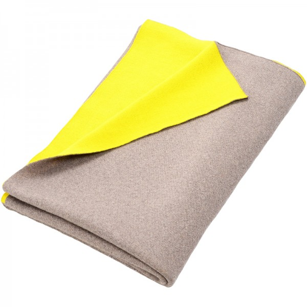 Merino Decke Doubleface beige/gelb Lenz & Leif