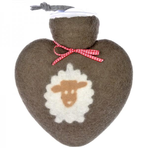 Herzwärmflasche Schafmotiv braun Dorothee Lehnen