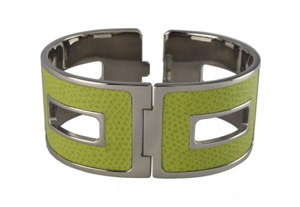 Armspange mit Leder grün Giobagnara