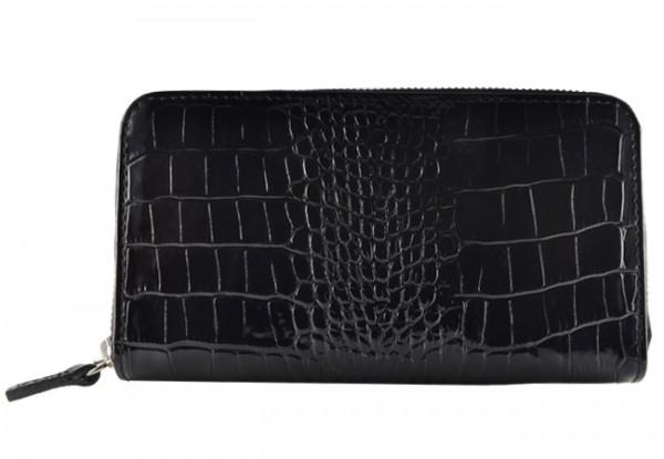 Portemonnaie Lady schwarz Kroko