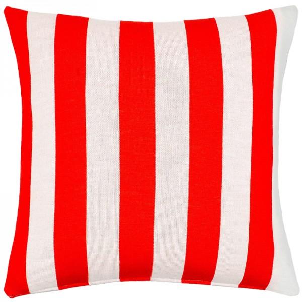 Merino Kissen Stripes rot