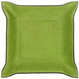 Taschenleerer quadratisch Fellleder grün