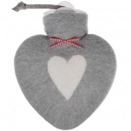 Wärmflasche Herz grau